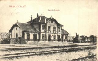 Hernádcsány, Csány, Cana; Vasútállomás, gőzmozdony. Divald K. fia / railway station, locomotive (EK)