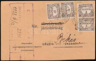 1923 (7. díjszabás) Távolsági levelezőlapként bérmentesített kézbesítési bizonyítvány Hivatalos 4 x 5K bérmentesítéssel, közte 2 bélyeg 3-as lyukasztással