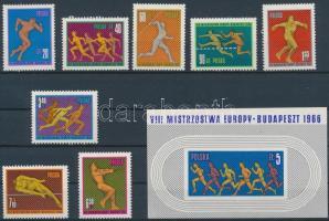 1966 Atlétikai EB Budapesten HUNGARIKA sor Mi 1680-1687 + blokk 39