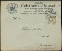 1909 Helyi levél Turul 6f bérmentesítéssel rajta G.R.B. perforációval