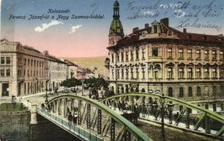 Kolozsvár, Cluj; Ferenc József út, Nagy Szamos híd / street, bridge (EK)