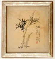 Jelzett kínai selyemkép, üvegezett keretben, 24×20 cm