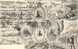 1903 Máriaradna és Lippa környékén megtartott hadgyakorlatok emlékére. K. Triskó / K.u.K. military exercises in Transylvania. Franz Joseph, Franz Ferdinand, Emil probst, Ludwig schwitzer