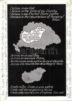 Hiszekegy négy nyelven, Nagy-Magyarország térképe, kiadja a Magyar Nemzeti Szövetség / Hungarian Irredenta, qudarilingual postcard, map of Hungary after the Treaty of Trinanon (EK)
