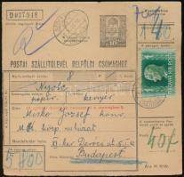 1943 Szállítólevél 6 kg-os csomagról SZOLYVA kétnyelvű bélyegzéssel