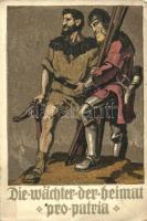 1910 Bundesfeier Postkarte, Die Wächter der Heimat Pro Patria / Swiss National Day, The Watchmen of the home, military propaganda litho s: Schaupp