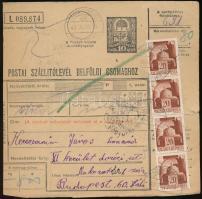 1943 Csomagszállító levél Hadvezérek 4 x 20f bérmentesítéssel MAGYARKOMJÁN kétnyelvű bélyegzéssel Budapestre küldve