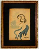 Vaszary jelzéssel: Női portré. Akvarell, papír, üvegezett keretben, 30×18 cm