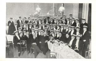 K.u.K. haditengerész tisztek bálon, csoportkép. Wessely és Horváth / K.u.K. mariner at a ball, group