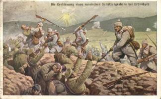 Die Erstürmung eines russischen Schützengrabens bei Drohobycs / K.u.K. military art postcard s: Benesch (fl)