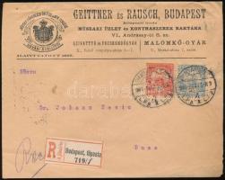 1901 Ajánlott távolsági levél Turul 10f és 25f bérmentesítéssel a 25f VI vízjel R!