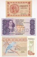 Vegyes 6db-os papírpénz tétel, benne: Kuba / Spanyol adminisztráció 1896. 5P hátoldalon PLATA felülbélyegzéssel + Hollandia 1943. 1G MUNTBILJET + Dánia 1936. 10K + Dél-Afrika 1990-1994. 5R + Suriname 1985. 2 1/2G + Franciaország / Párizsi Kereskedelmi Kamara 1920. 5c szükségpénz T:I-III Mixed 6pcs of paper money, including: Cuba / Spanish administration 1896. 5 Pesos with PLATA + Netherlands 1943. 1 Gulden MUNTBILJET + Denmark 1936. 10 Kroner + South Africa 1990-1994. 5 Rand + Suriname 1985. 2 1/2 Gulden + France / Chambre de Commerce de Paris 1920. 5 Centimes T:UNC-F