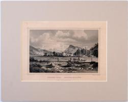 cca 1840 Ludwig Rohbock (1820-1883): Hradek vára (Csehország), acélmetszet, paszpartuban, 10x16 cm./ cca 1840 Ludwig Rohbock (1820-1883): Hradek Castel (Czech Republic), steel-engraving, in paspartu, 10x16 cm.