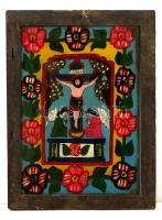 Erdélyi festett üveg ikon sérült keretben, 36×25 cm