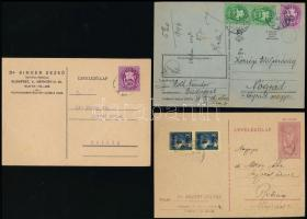 1945-1946 5 db küldemény a II. inflációs időszakból, benne 3 db levelezőlap, 2 db levél klf bérmentesítéssel