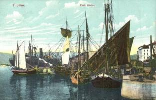 Fiume, Rijeka; Porto Baross / Baross kikötő, vitorlás hajó / port, sailing ship