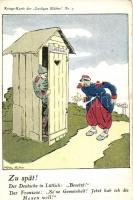 Zu spät!. Kriegs-Karte der Lustigen Blätter Nr. 7. / Battle of Liege, Operation Lüttich humorous military art postcard, French and German soldiers s: Mühler Schulte