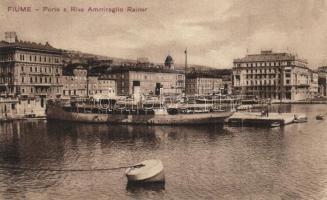 Fiume, Rijeka; Porto e Riva Ammiaraglio Rainer / kikötő, gőzhajó / port, steamship (EK)