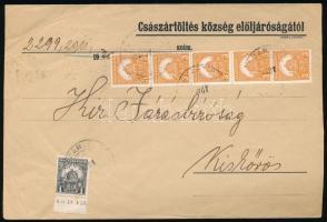 1930-1941 Távolsági levél 5 x 3f + 1f, levelezőlap 10f + 2 x 1f bérmentesítéssel + SZÁSZRÉGEN VISSZATÉRT emléklap 2 x 1f ívszéli bélyeggel, az egyiken ívszéli nyomdajelzés
