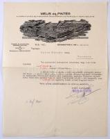 1928 Melis és Pintér A Ford Autók és Fordson Traktrorok Autorizált Képviseletének levéle,Szombathely, Karmacsra, számlakiegyenlítés ügyében, díszes fejléccel,