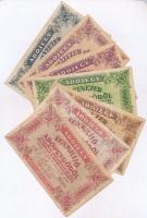 1946. 10.000AP sorszámmal + 50.000AP sorszámmal, hátoldalon FOF pecséttel + 100.000AP (2x) mindkettő sorszámmal + 500.000AP sorszám nélkül + 1.000.000AP (2x) egyik sorszámmal, másik sorszám nélkül, a sorszámos fordított címerrel T:III