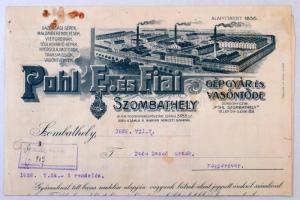 1928 Pohl E. és Fiai Gépgyár és Vasöntöde számlája, Szombathely, magyaróvári megrendelőnek, díszes fejléces papíron, illetékbélyeggel.