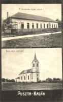 Pusztakalán, Calan; M. kir. állami elemi iskola, Római katolikus templom, Thiesz Márton kiadása / school, church (EK)
