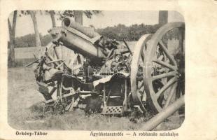 Örkénytábor, Ágyúkatasztrófa, löveg, a robbanás színhelye, Wassermann Vilmos kiadása (fa)