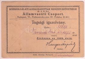 1926 Közszolgálati Alkalmazottak Nemzeti Szövetsége Államvasúti Csoport, tagsági igazolvány, aláírással, pecséttel.