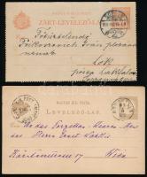 1875-1910 5 db díjjegyes küldemény, közte vétbizonyítvány, 2 db posta utalvány kivágás és zárt levelezőlap Burgenlandba