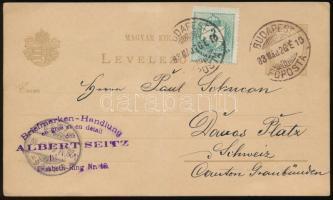 1883 Díjjegyes levelezőlap Színesszámú 3kr díjkiegészítéssel Svájcba küldve