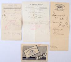 1938-1938 Szombathelyi orvosok receptjei és egy boríték, 4 db (Dr. Anicsek István, Dr. Dános József, Dr. Dvorszky Béla és Dvorszky Etelka.)