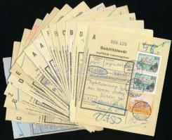 39 db küldemény a Forint-fillér időszakból, benne 23 db levél és 16 db szállítólevél