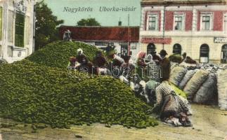 Nagykőrös, Uborka-vásár, Virág Csarnok, piac, Geszner Jenő kiadása (kopott sarkak / worn corners)