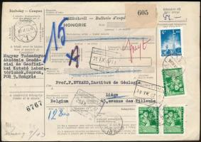 1967 Szállítólevél 13 kg-os Belgiumba csomagról 94Ft bérmentesítéssel
