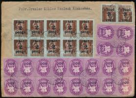 1946 Távolsági ajánlott levél sok bélyeges bérmentesítéssel, festékhiányos bélyegekkel SZOLNOK - Budapest