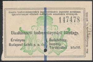 1937 MÁV utasításszerű kedvezményes árú füzetjegy