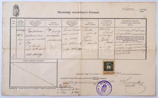 1909 Házassági anyakönyvi kivonat, Mihályi község (Győr-Moson-Sopron megye), pecséttel, okmánybélyeggel.
