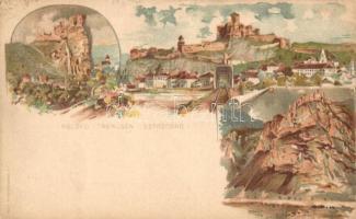 1899 Beckó, Trencsén, Sztrecsény / Beckov, Trencin, Sztrecsnó, Strecno várak; Pesti Könyvnyomda Rt. / castles, litho 2kr Ga. s: Kimnach