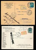 1939 3 db céges levelezőlap címnyomozó kezelési jelzésekkel, ragjegyekkel