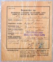 1906 Bejelentési lap kefekötő tanonc számára, Bük ( Vasmegye, pecséttel, aláírással.