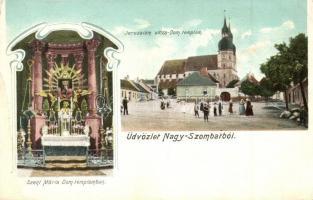 Nagyszombat, Trnava; Jeruzsálem utca, Dóm templom, belső Szent Mária szoborral. Bediene dich allein / street, church, interior, Art Nouveau