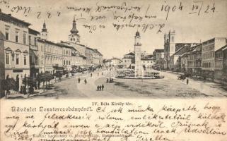 Besztercebánya, Banska Bystrica; IV. Béla király tér, gyógyszertár / square, pharmacy