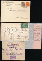 1927-1944 7 db küldemény a Pengő-fillér időszakból, benne helyi, ajánlott és külföldi levél