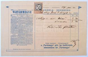 1891 Vasármegye politika lap számlája, illetékbélyeggel.