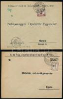 1921-1923 4 db küldemény klf Hivatalos bélyegekkel bérmentesítve