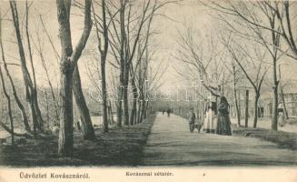 Kovászna, Covasna; sétatér, Bogdán F. kiadása / promenade (EK)