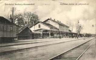 Székelykocsárd, Lunca Muresului; Vasútállomás, kiadja Czelnlai Gyula / railway station (EK)
