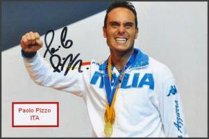 Paolo Pizzo olimpiai bajnok vívó saját kézzel aláírt fotója / Autograph signed photo of Olympic Games contestant 16x10 cm