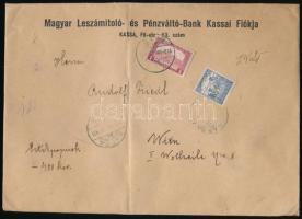1918 Értéklevél 400K értéknyilvánítással Arató 25f és Parlament 1K bérmentesítéssel KASSA - Bécs